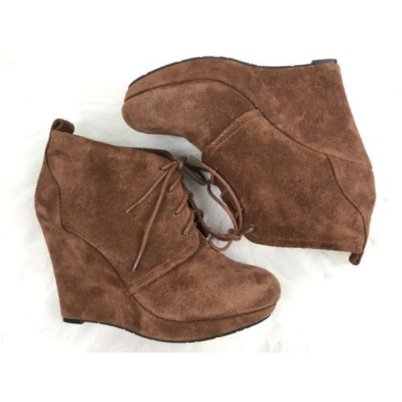 a57d8fb9f6dc Jessica Simpson Shoes - Jessica Simpson Leather Suede Ankle Wedge Bootie 8